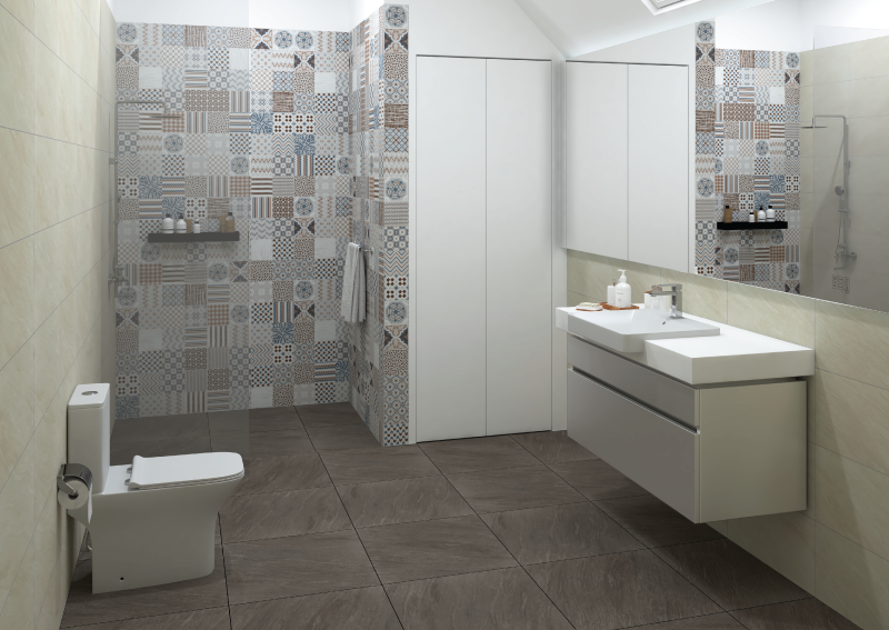 A bathroom with patterned tiles